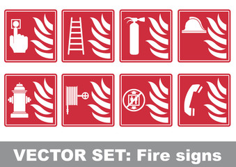 Vector set: fire signs