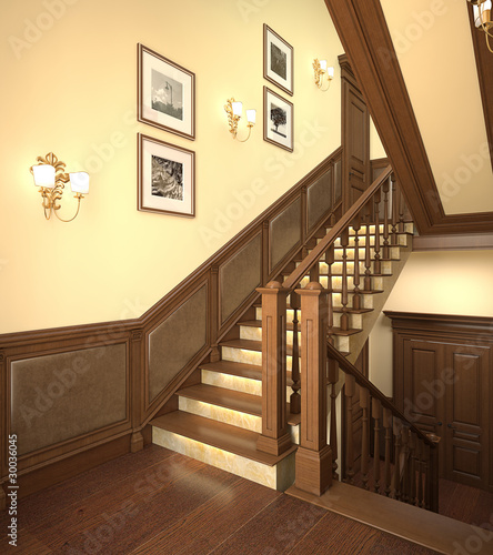 Wood stairs in the modern house.