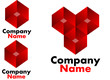 Red geometric logo designs
