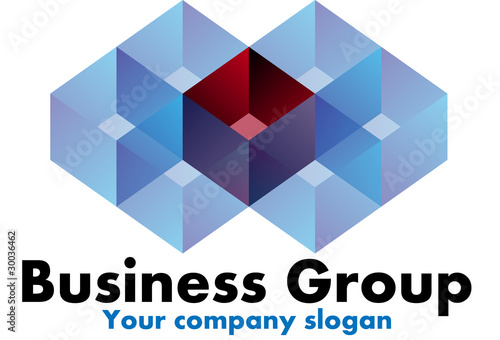 Blue and red geometry design logo