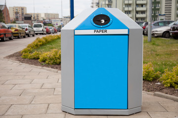 Recycling bin in a city for paper segregation