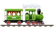 green retro locomotive with