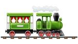 green retro locomotive with - 30037878