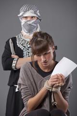 female hostage and terrorist