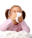 Fototapety Little girl blows her nose