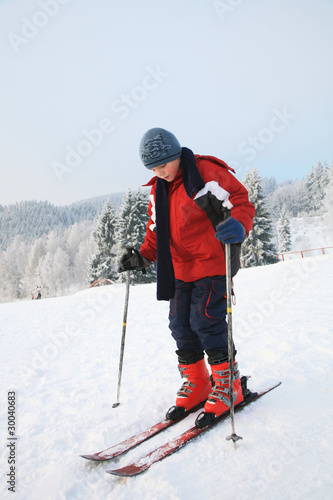 Boy and skis