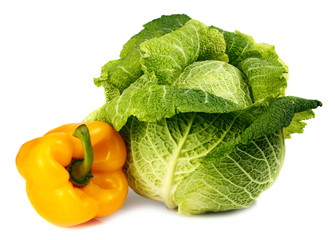 cabbage and yellow pepper
