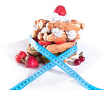 Balance diet with less calories, waffle with cream and fruits poster