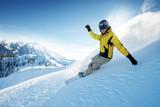 Freeride snowboarding photo in deep powder