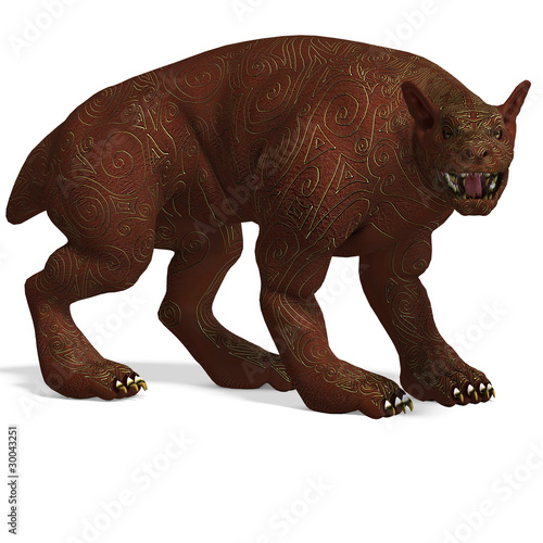 mythologic dog creature with golden skin. 3D rendering with