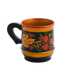 Wooden mug with a handle with khokhloma painted