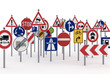 A lot of traffic signs over white background