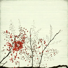 Red Blossom Art On Ribbed Bamboo Paper