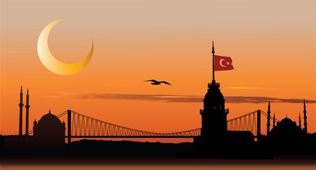 Silhouette of Istanbul at sunset