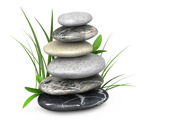 3d glossy gray stones on white background