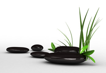 3d glossy black stones on white background