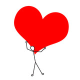 Stickman with a large heart