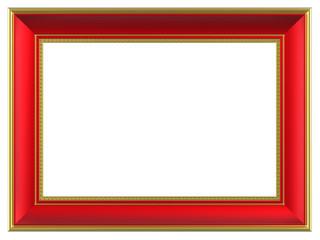 Gold-red rectangular frame isolated on white background.
