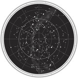 Celestial Map of The Night Sky. Astronomical Chart of Northern Hemisphere. (EPS-8). - Fine Art prints