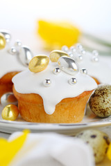 Easter iced cake with gilded dragees