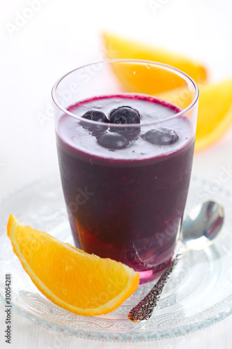 smoothie with blueberries, cranberries and orange juice