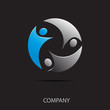Logo teamwork on black background # Vector
