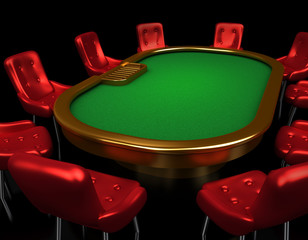 Poker table with chairs isometric view isolated on black