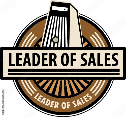 Sticker with the computer and word Leader of sales