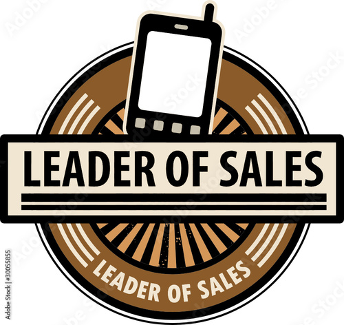 Sticker with the mobile phone and word Leader of sales