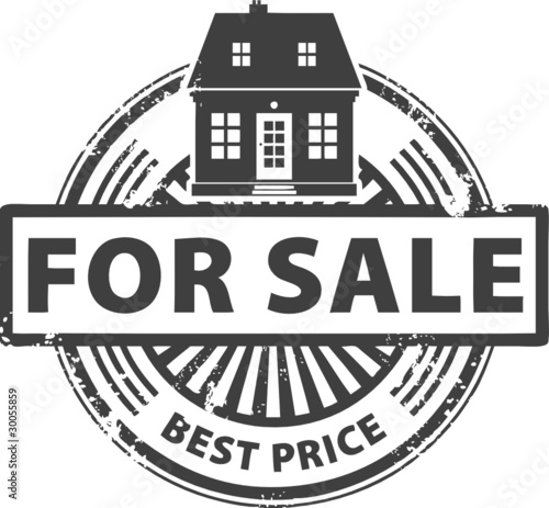 Abstract grunge stamp with house and the word for sale