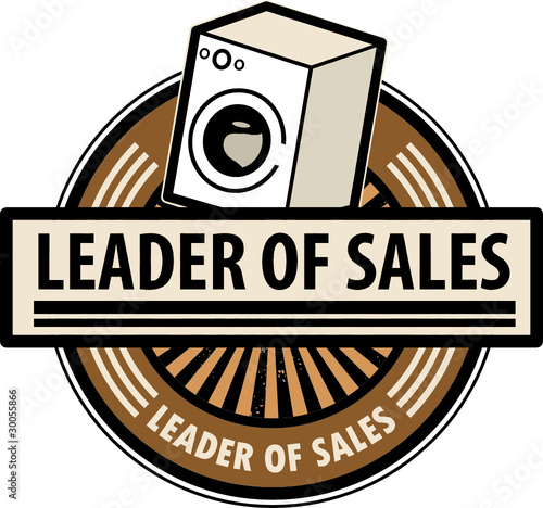 Sticker with the washing machine and word Leader of sales