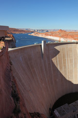 Glen Canyon Dam. Away - blue water of Lake Powell
