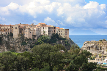 Italy, Calabria, Old town Tropea on the rock
