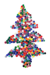color plastic caps as christmas tree