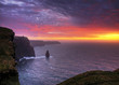 Unreal sunset on Cliffs of Moher - Ireland