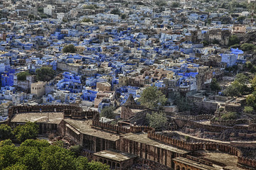 "the ""BLUE CITY"", Jodhpur in Rajasthan, India."