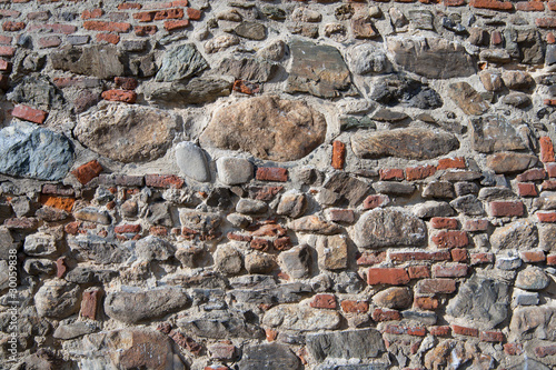 Wall of bricks and stones as a texture