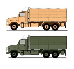 Army trucks set vector