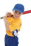 Smiling boy holding a baseball tball bat