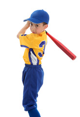 Boy swinging a baseball bat