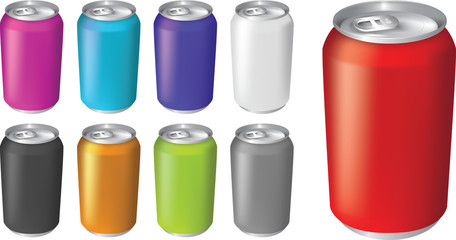 Vector illustrations of fizzy drink soda cans