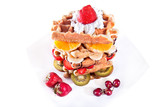 Balance diet with less calories, waffle with vanilla cream poster