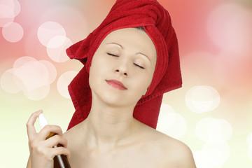 Woman pefuming after bath