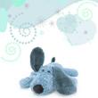 blauer plüschhund - konzept geburt