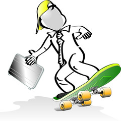Business person on Skateboard.