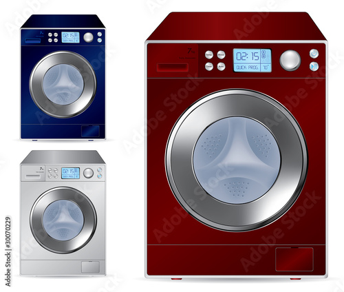 Fully automatic front loading washing machine - vector illustrat