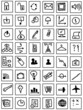 simple hand draw web business icons isolated on white