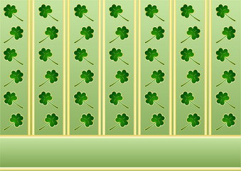 St. Patrick's wallpaper with shamrocks and golden stripes