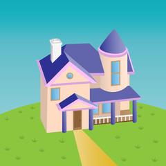 Cartoon house on glade