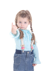 Attractive little girl pointing  finger
